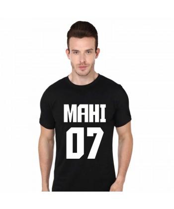 Mahi 07 M S Dhoni Black Round Neck T Shirt
